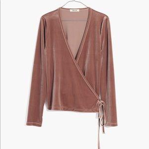 Madewell Velvet wrap top pink